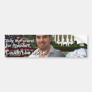 大統領のためのビリーMcFarland バンパーステッカー