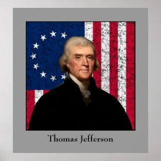 大統領ジェファーソンおよび米国旗 ポスター