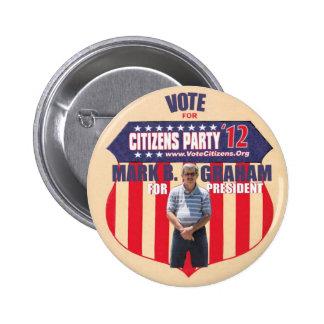 大統領2012年投票印B.グラハム 5.7CM 丸型バッジ