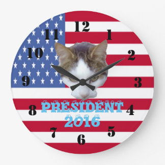 大統領2016年のためののための猫 ラージ壁時計