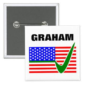 大統領2016年のための投票Lindseyグラハム 5.1cm 正方形バッジ