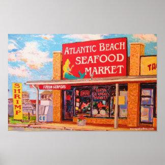 """""""大西洋のビーチのシーフードの市場"""" ポスター"""