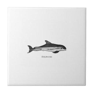 大西洋の白い味方されたイルカのロゴ タイル
