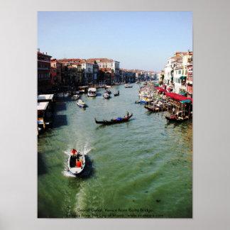 大運河、Rialto橋からのベニス ポスター