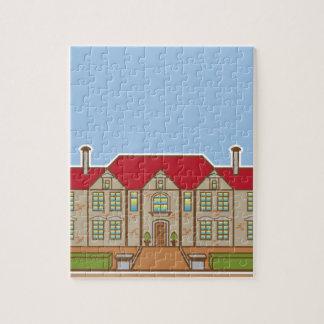 大邸宅の表の庭のベクトル ジグソーパズル