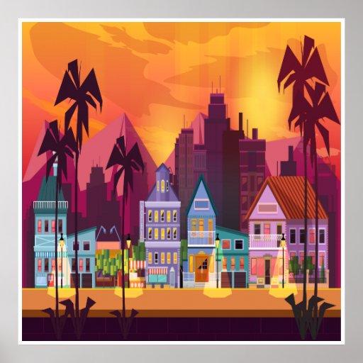 大都市および町場面芸術ポスター ポスター