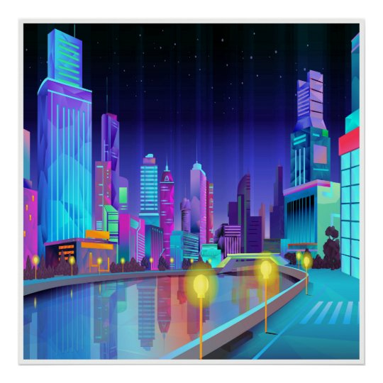 大都市夜場面パノラマ式の芸術ポスター ポスター