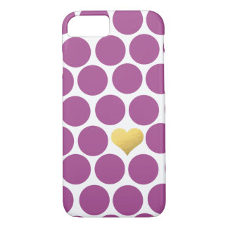 大黄の紫色の水玉模様の金ゴールドホイルのハートのiPhone iPhone 8/7ケース