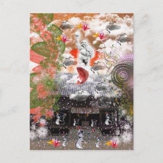 大黒さんと招き猫 浮島神社編 葉書き