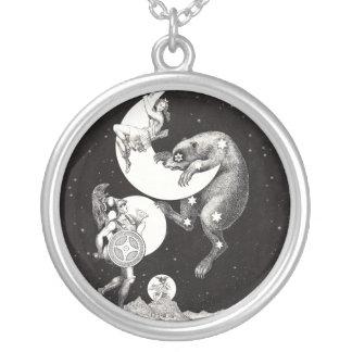 天の月の火星の土星の惑星の芸術のプリント シルバープレートネックレス