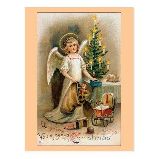 """""""天使およびおもちゃ""""のヴィンテージのクリスマス ポストカード"""