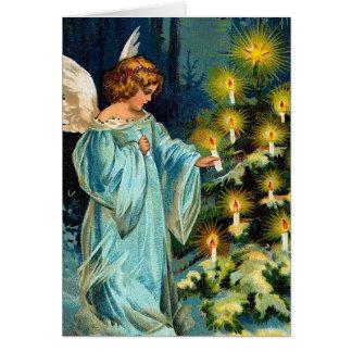 """""""天使およびクリスマスツリー""""のヴィンテージ カード"""