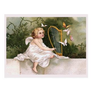 天使およびハープのヴィンテージの絵 ポストカード