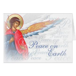 """""""天使および出生場面の地球の平和"""" カード"""