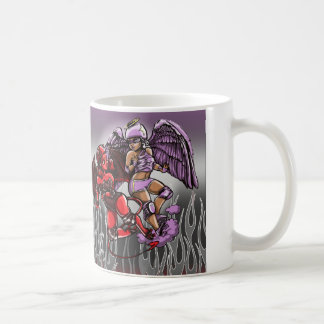 天使および悪魔のローラーのダービーのかわいいマグ コーヒーマグカップ