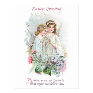 天使および花のヴィンテージイースター ポストカード