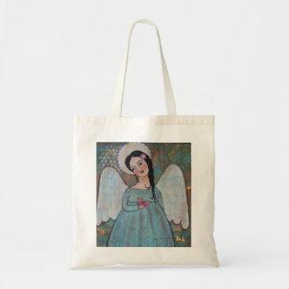 天使および蝶キャンバスのトートバック トートバッグ