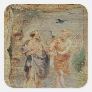 天使からパンおよび水を受け取っているエリヤ スクエアシール