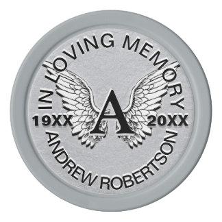 天使によってが飛ぶ小型の天使のモノグラムの手紙 ポーカーチップ