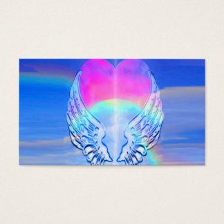 天使によってはハートのまわりで包まれたが飛びます 名刺