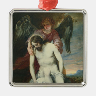 天使によって支えられる死んだキリストc.1646-52 (油 メタルオーナメント