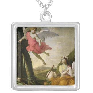 天使によって救助されるHagarおよびIshmael c.1648 シルバープレートネックレス
