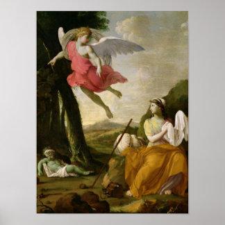 天使によって救助されるHagarおよびIshmael c.1648 ポスター