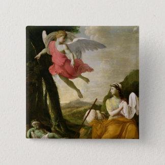 天使によって救助されるHagarおよびIshmael c.1648 5.1cm 正方形バッジ