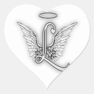 天使のアルファベットによってL大文字はハローが飛びます ハートシール