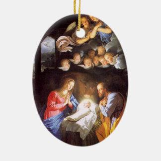 天使のクリスマスのオーナメントとの出生場面 セラミックオーナメント