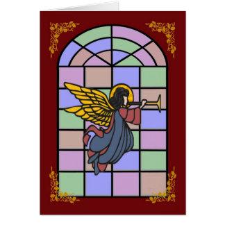 天使のステンドグラス窓のクリスマスカード カード