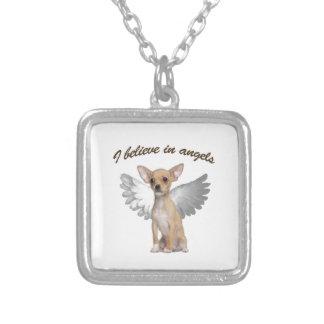 天使のチワワ シルバープレートネックレス