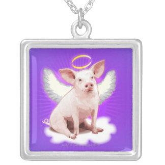 天使のブタ シルバープレートネックレス