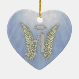天使のモノグラムに文字を入れて下さい セラミックオーナメント