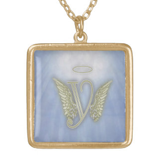 天使のモノグラム ゴールドプレートネックレス
