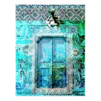 天使のロマンチックでイタリアンなルネサンスのドア ポストカード