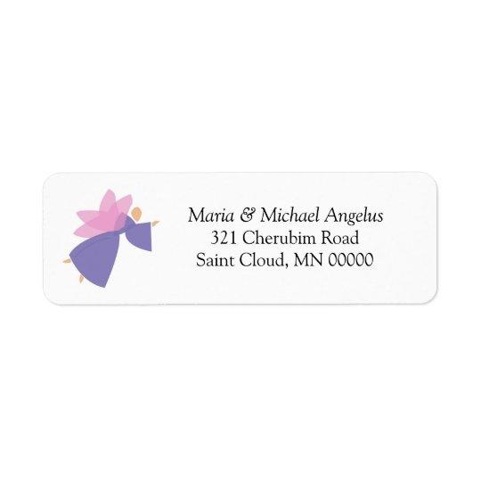天使の名前入りな結婚式の招待状のステッカー 返信用宛名ラベル