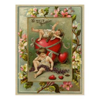 天使の天使およびハートのヴィンテージの再生 ポストカード