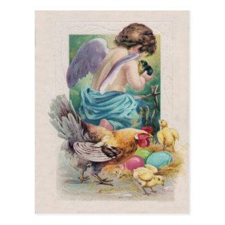 天使の天使のイースターエッグのひよこのオンドリ ポストカード