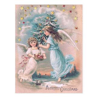 天使の天使のクリスマスツリーのAppleの星 ポストカード