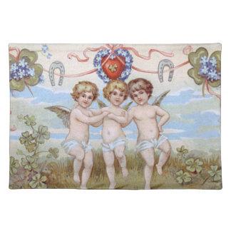 天使の天使の蹄鉄のシャムロック ランチョンマット