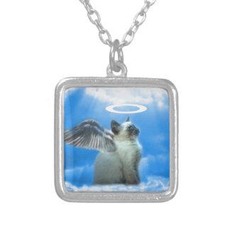 天使の子ネコのギフト シルバープレートネックレス