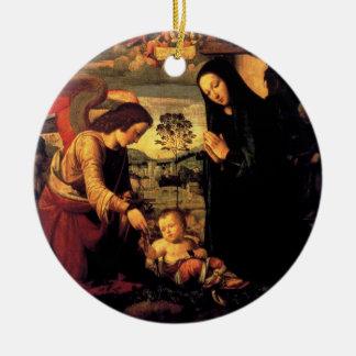 天使の子供および聖母マリアの崇敬 セラミックオーナメント