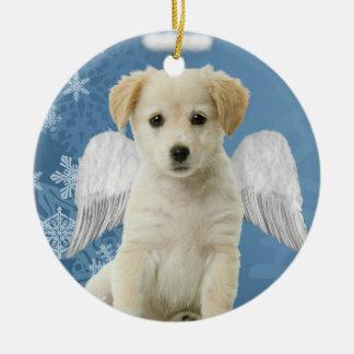 天使の子犬のクリスマスのオーナメント セラミックオーナメント