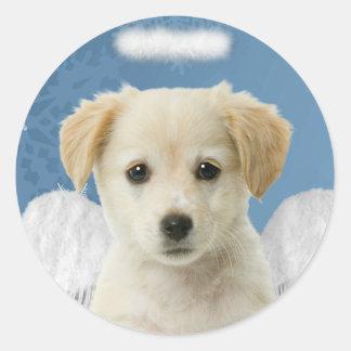 天使の子犬のクリスマスのステッカー ラウンドシール