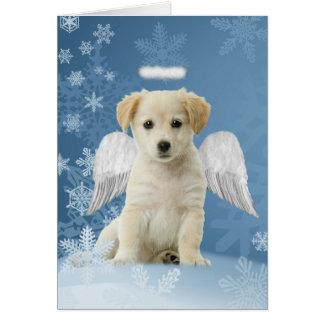 天使の子犬のクリスマスカード カード