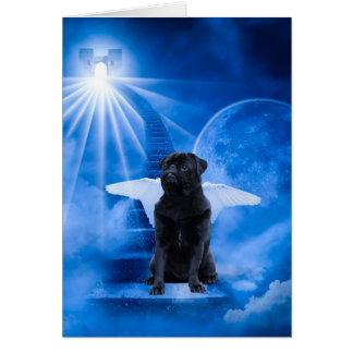 天使の悔やみや弔慰として天国のパグ カード