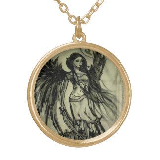 天使の戦士のペンダント ゴールドプレートネックレス
