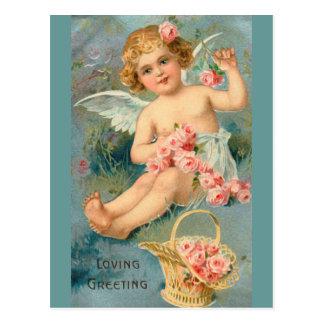 天使の挨拶のかわいいヴィンテージの花柄 ポストカード