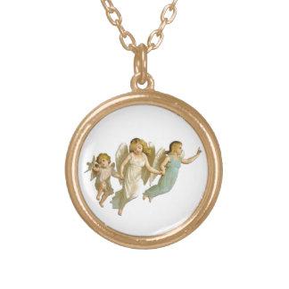 天使の方法円形のネックレス ゴールドプレートネックレス